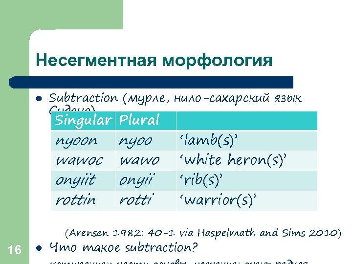 Несегментная морфология l Subtraction (мурле, нило-сахарский язык Судана) Singular Plural nyoon wawoc onyiit rottin