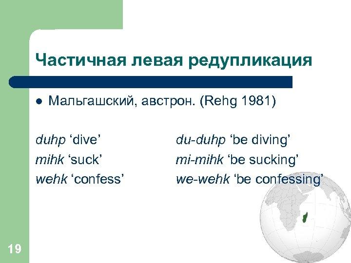 Частичная левая редупликация l Мальгашский, австрон. (Rehg 1981) duhp 'dive' mihk 'suck' wehk 'confess'