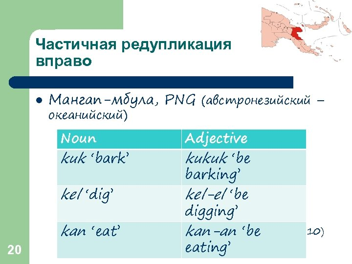 Частичная редупликация вправо l Мангап-мбула, PNG (австронезийский – океанийский) Noun kuk 'bark' 20 Adjective