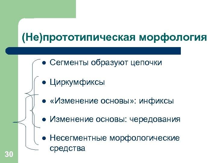 (Не)прототипическая морфология l l Циркумфиксы l «Изменение основы» : инфиксы l Изменение основы: чередования