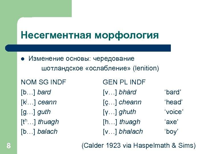 Несегментная морфология l Изменение основы: чередование шотландское «ослабление» (lenition) NOM SG INDF [b…] bard