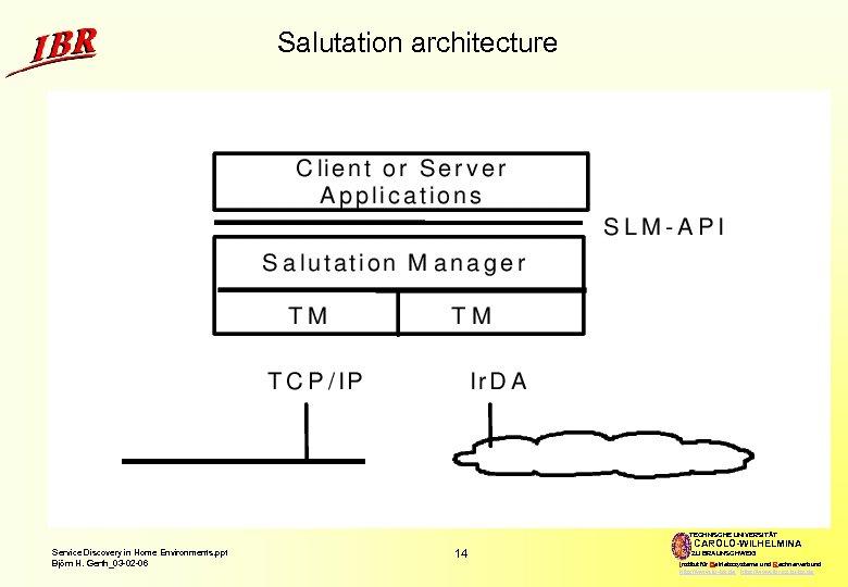 Salutation architecture TECHNISCHE UNIVERSITÄT Service Discovery in Home Environments. ppt Björn H. Gerth_03 -02