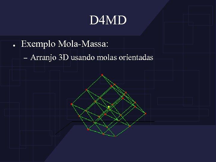 D 4 MD ● Exemplo Mola-Massa: – Arranjo 3 D usando molas orientadas