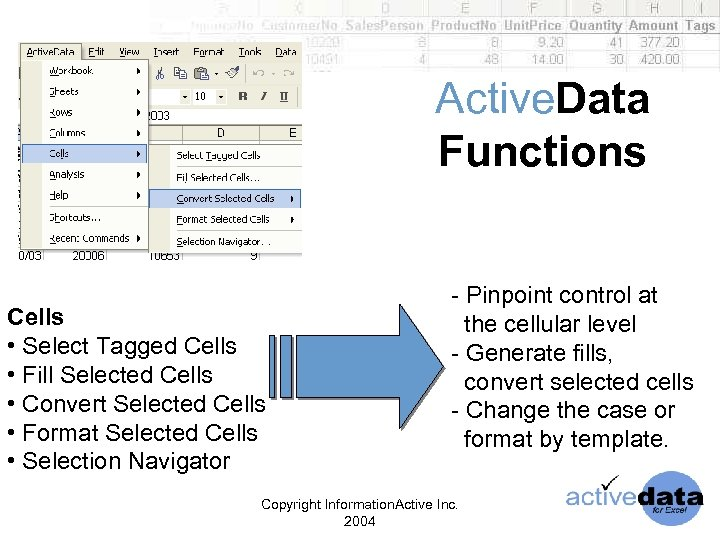 Active. Data Functions Cells • Select Tagged Cells • Fill Selected Cells • Convert