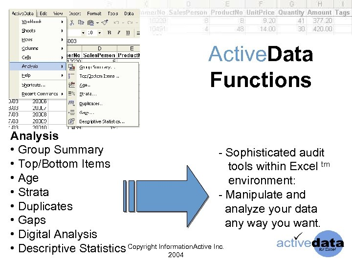 Active. Data Functions Analysis • Group Summary - Sophisticated audit • Top/Bottom Items tools