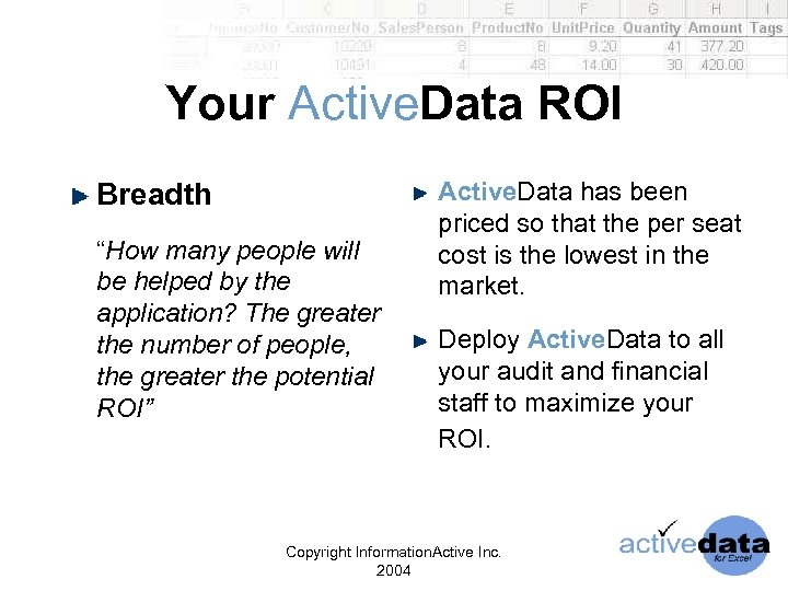 "Your Active. Data ROI Breadth ""How many people will be helped by the application?"