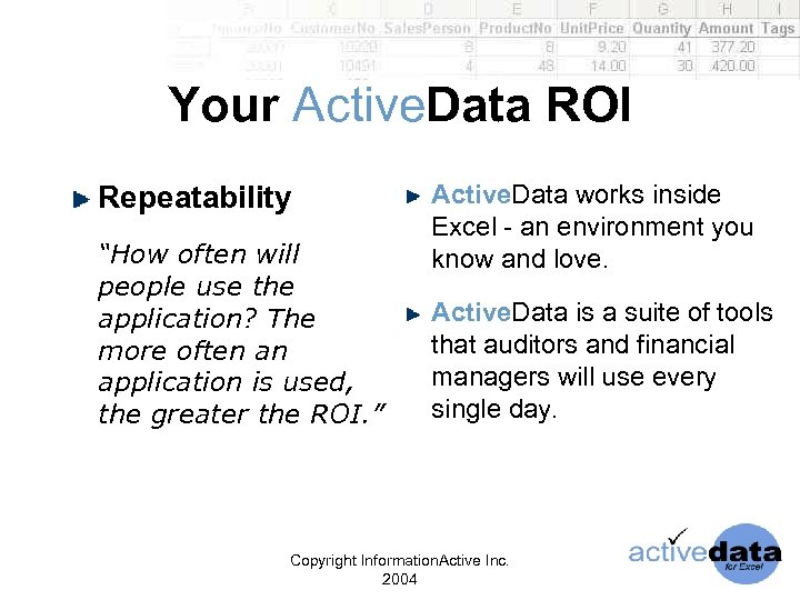 "Your Active. Data ROI Repeatability ""How often will people use the application? The more"