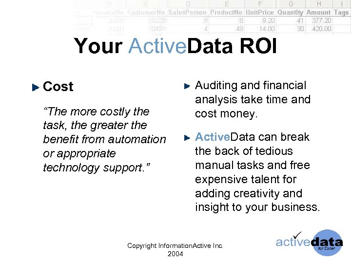 "Your Active. Data ROI Cost ""The more costly the task, the greater the benefit"