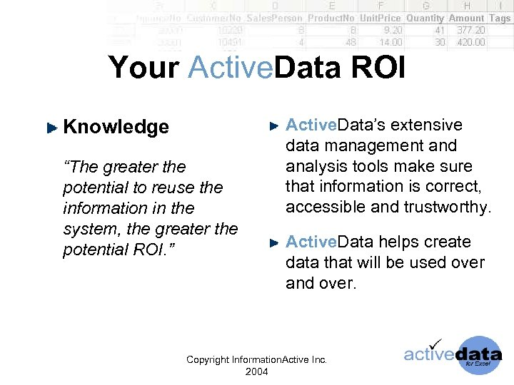 "Your Active. Data ROI Knowledge ""The greater the potential to reuse the information in"