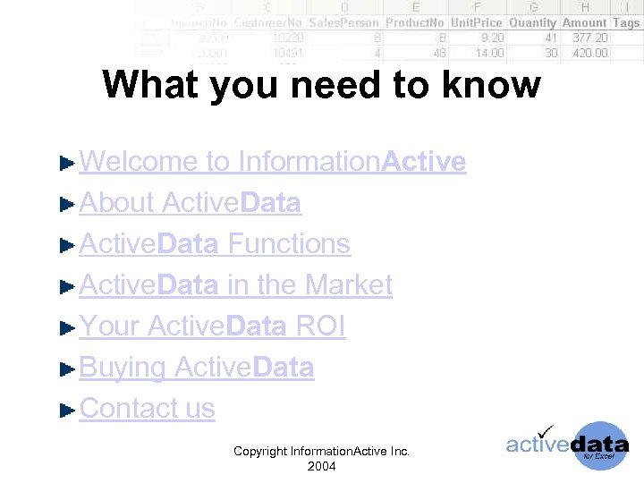 What you need to know Welcome to Information. Active About Active. Data Functions Active.