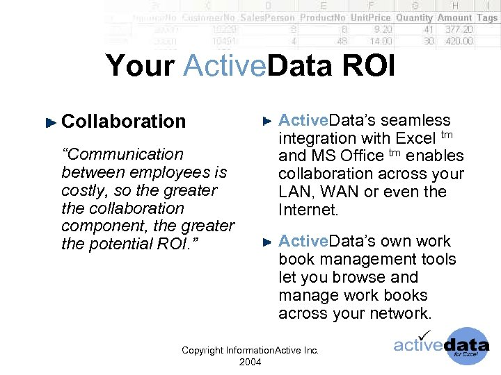 "Your Active. Data ROI Collaboration ""Communication between employees is costly, so the greater the"