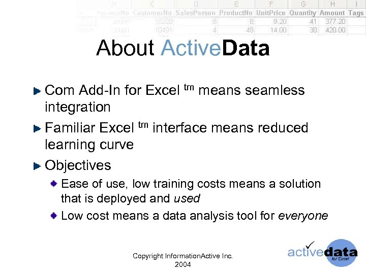 About Active. Data Com Add-In for Excel tm means seamless integration Familiar Excel tm