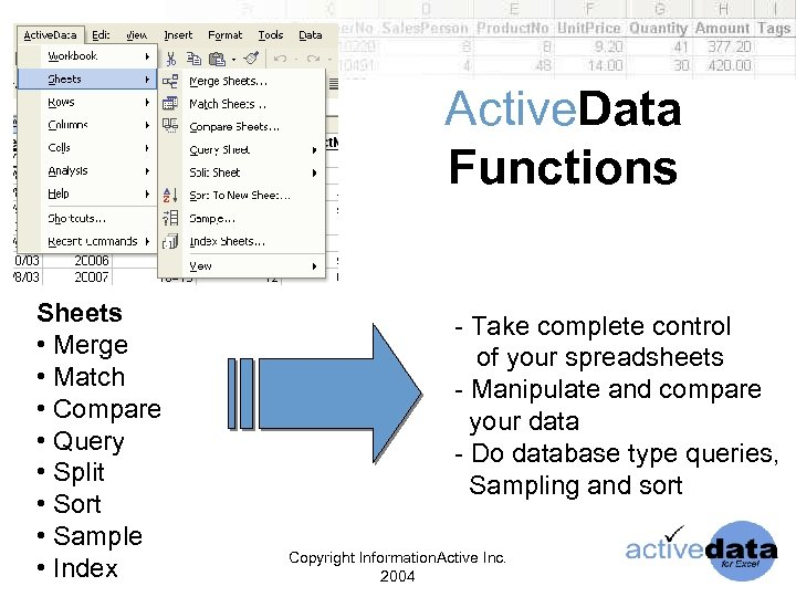 Active. Data Functions Sheets • Merge • Match • Compare • Query • Split