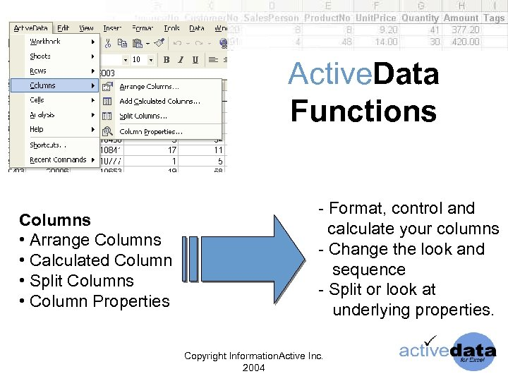 Active. Data Functions Columns • Arrange Columns • Calculated Column • Split Columns •