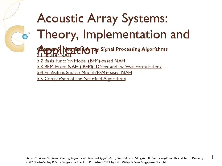 Acoustic Array Systems: Theory, Implementation and Application Chapter 5. Nearfield Array Signal Processing Algorithms