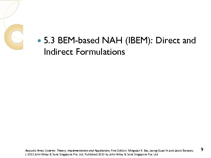 5. 3 BEM-based NAH (IBEM): Direct and Indirect Formulations Acoustic Array Systems: Theory,