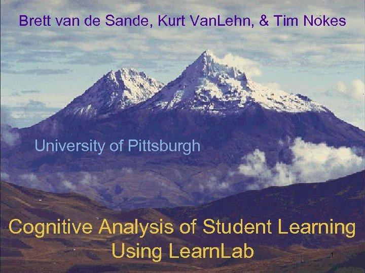 Brett van de Sande, Kurt Van. Lehn, & Tim Nokes University of Pittsburgh Cognitive