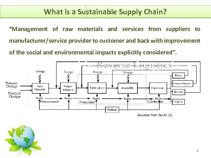 "What is a Sustainable Supply Chain? ""Management of raw materials and services from suppliers"
