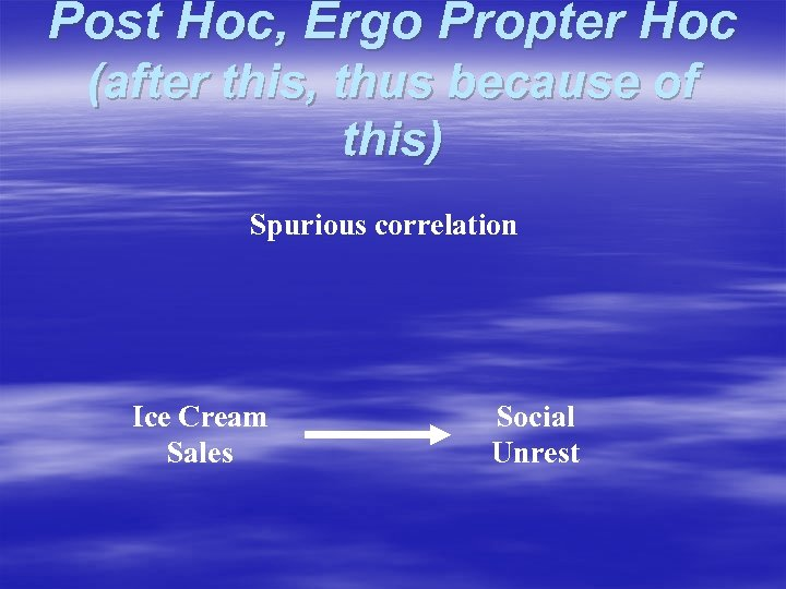 Post Hoc, Ergo Propter Hoc (after this, thus because of this) Spurious correlation Ice