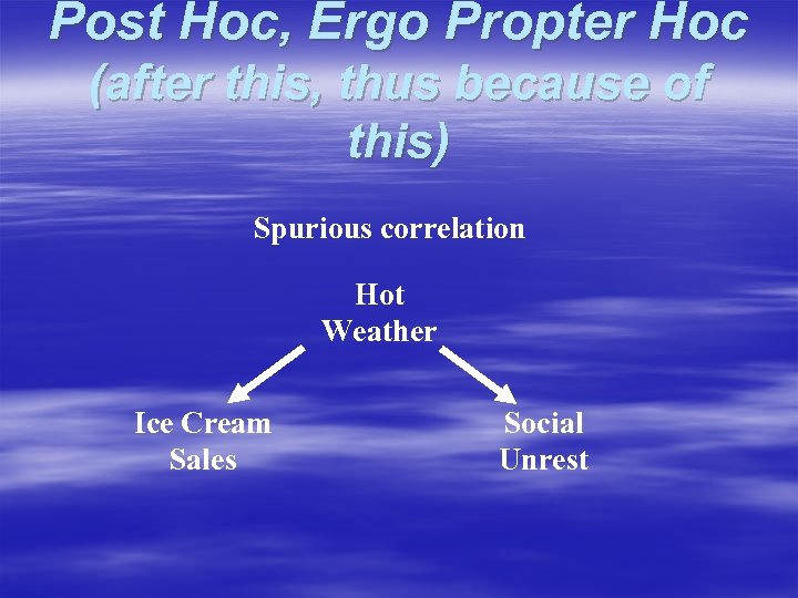 Post Hoc, Ergo Propter Hoc (after this, thus because of this) Spurious correlation Hot