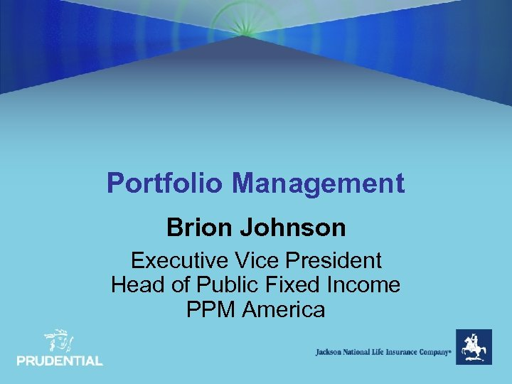 Portfolio Management Brion Johnson Executive Vice President Head of Public Fixed Income PPM America