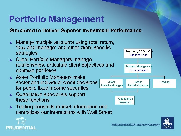 Portfolio Management Structured to Deliver Superior Investment Performance ▲ ▲ ▲ Manage multiple accounts