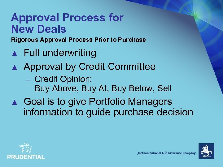 Approval Process for New Deals Rigorous Approval Process Prior to Purchase ▲ ▲ Full