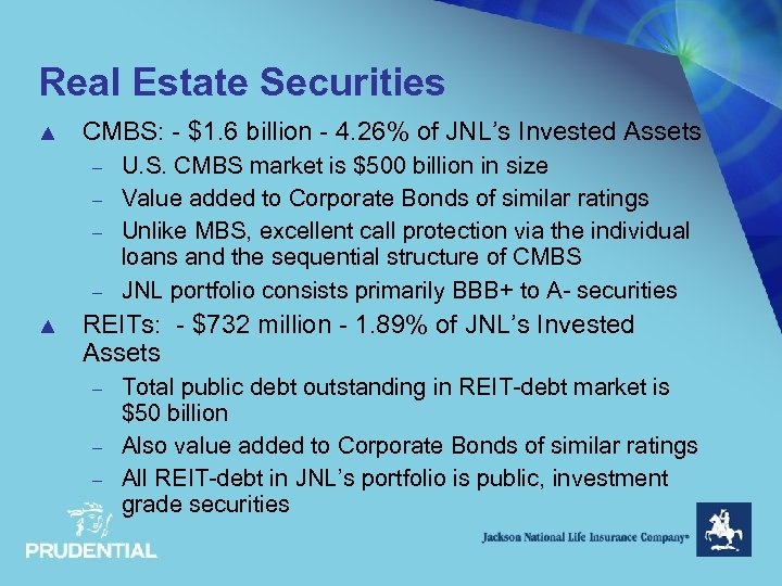 Real Estate Securities ▲ CMBS: - $1. 6 billion - 4. 26% of JNL's