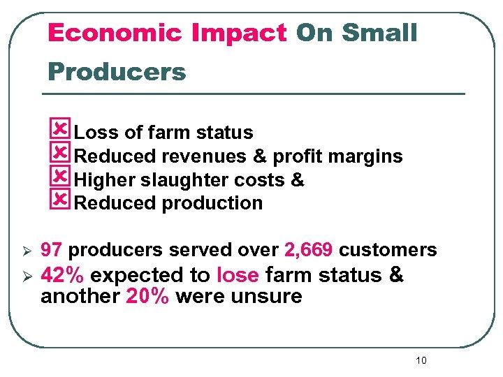 Economic Impact On Small Producers ýLoss of farm status ýReduced revenues & profit margins