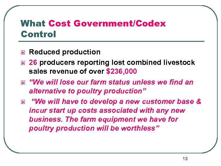 What Cost Government/Codex Control ý ý Reduced production 26 producers reporting lost combined livestock