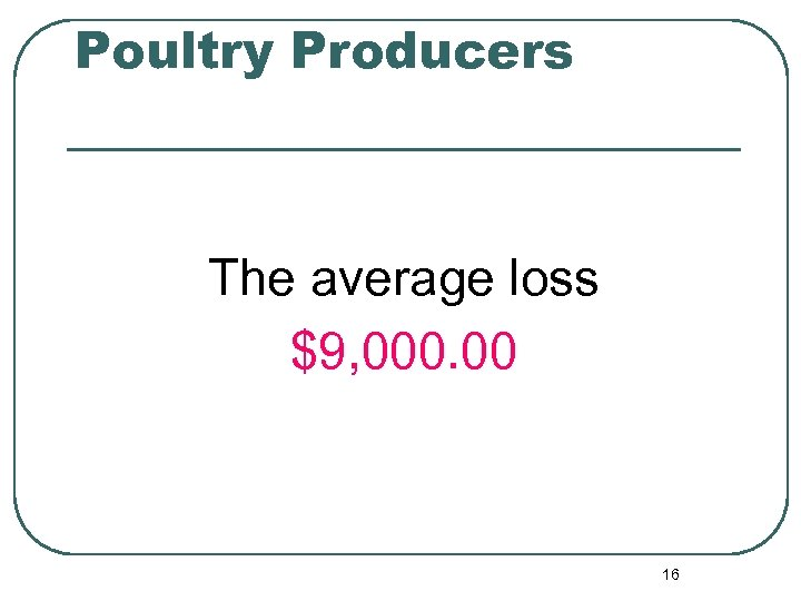 Poultry Producers The average loss $9, 000. 00 16