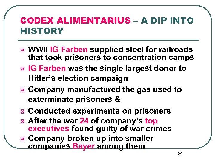CODEX ALIMENTARIUS – A DIP INTO HISTORY ý ý ý WWII IG Farben supplied