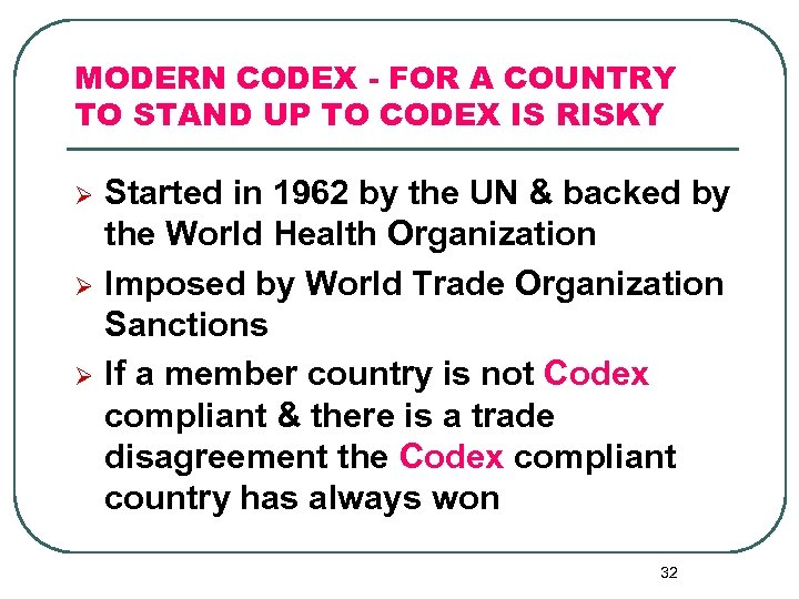 MODERN CODEX - FOR A COUNTRY TO STAND UP TO CODEX IS RISKY Ø