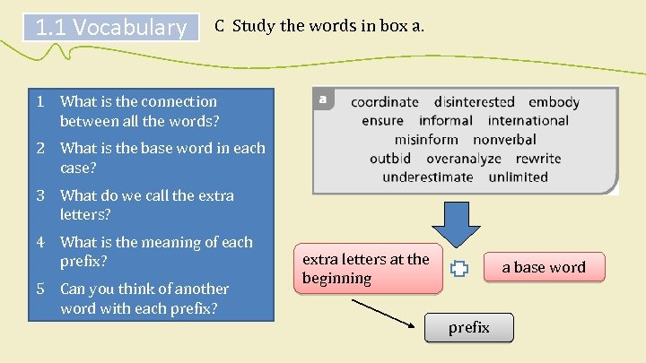 1. 1 Vocabulary C Study the words in box a. 1 What is the