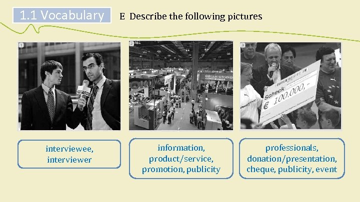 1. 1 Vocabulary interviewee, interviewer E Describe the following pictures information, product/service, promotion, publicity