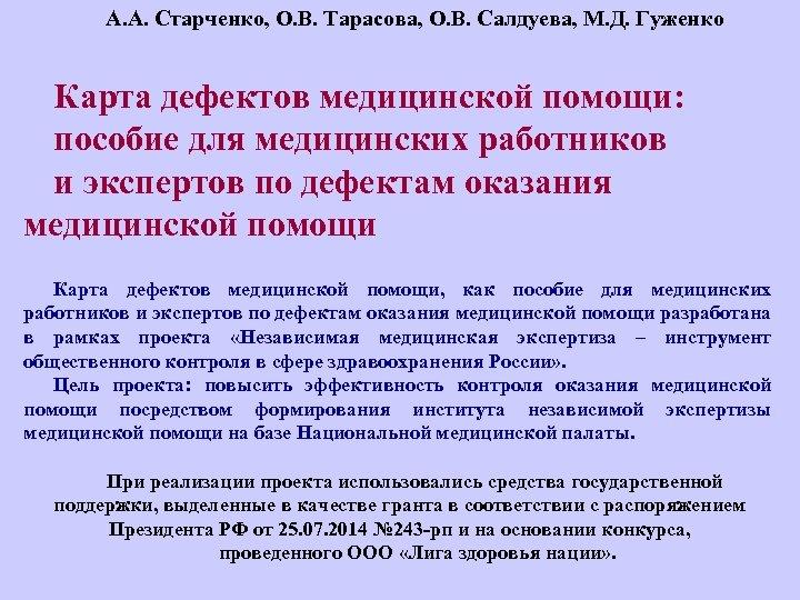 А. А. Старченко, О. В. Тарасова, О. В. Салдуева, М. Д. Гуженко Карта дефектов