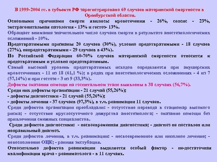 В 1999 2004 гг. в субъекте РФ зарегистрировано 69 случаев материнской смертности в Оренбургской