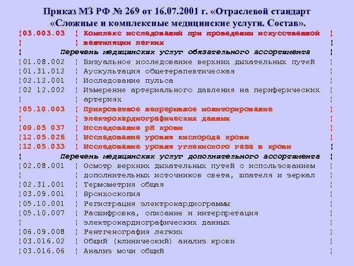Приказ МЗ РФ № 269 от 16. 07. 2001 г. «Отраслевой стандарт «Сложные и