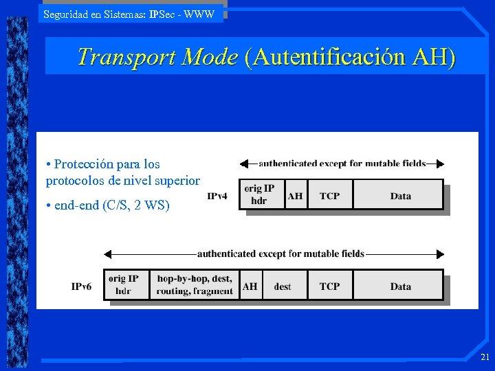 Seguridad en Sistemas: IPSec - WWW Transport Mode (Autentificación AH) • Protección para los