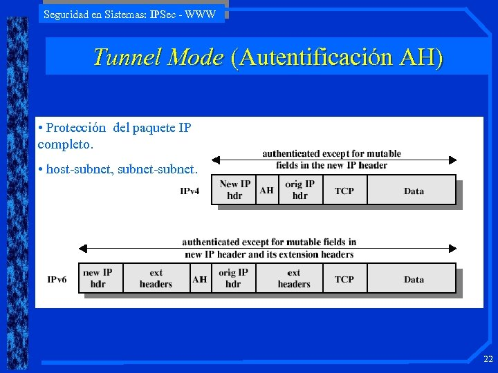 Seguridad en Sistemas: IPSec - WWW Tunnel Mode (Autentificación AH) • Protección del paquete