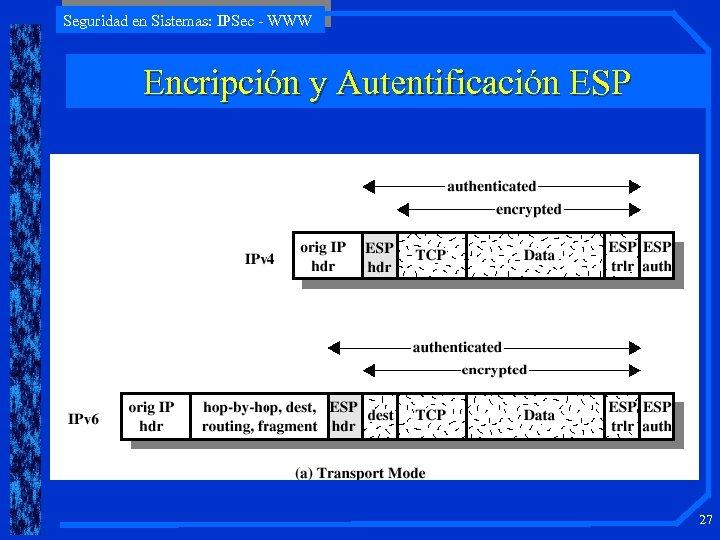 Seguridad en Sistemas: IPSec - WWW Encripción y Autentificación ESP 27