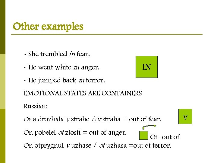 Other examples - She trembled in fear. - He went white in anger. IN