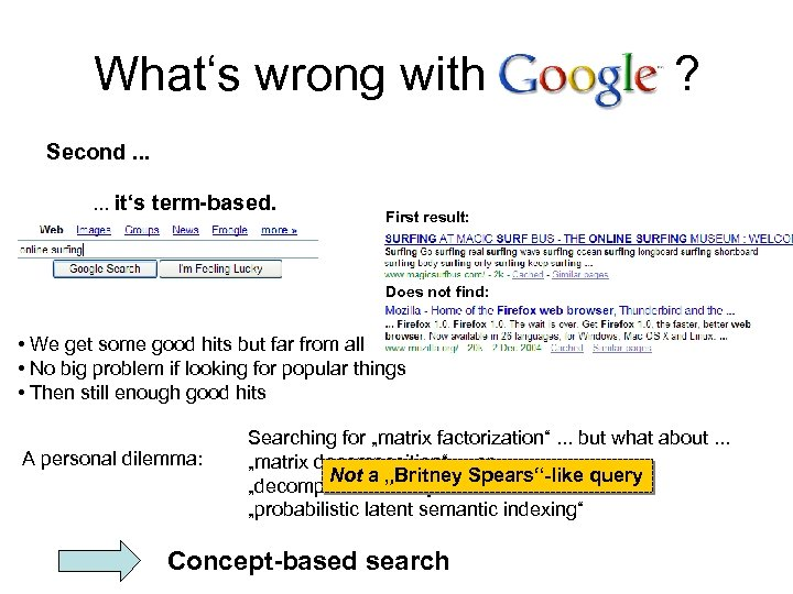 What's wrong with ? Second. . . it's term-based. First result: Does not find: