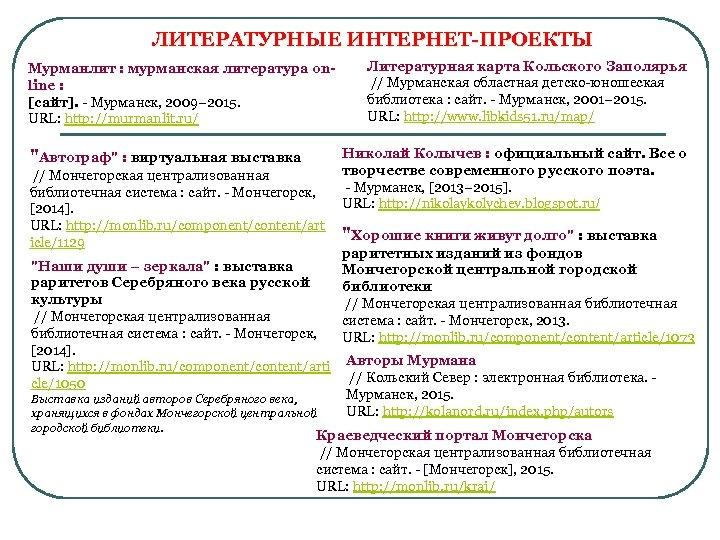 ЛИТЕРАТУРНЫЕ ИНТЕРНЕТ-ПРОЕКТЫ Мурманлит : мурманская литература online : [сайт]. - Мурманск, 2009– 2015. URL: