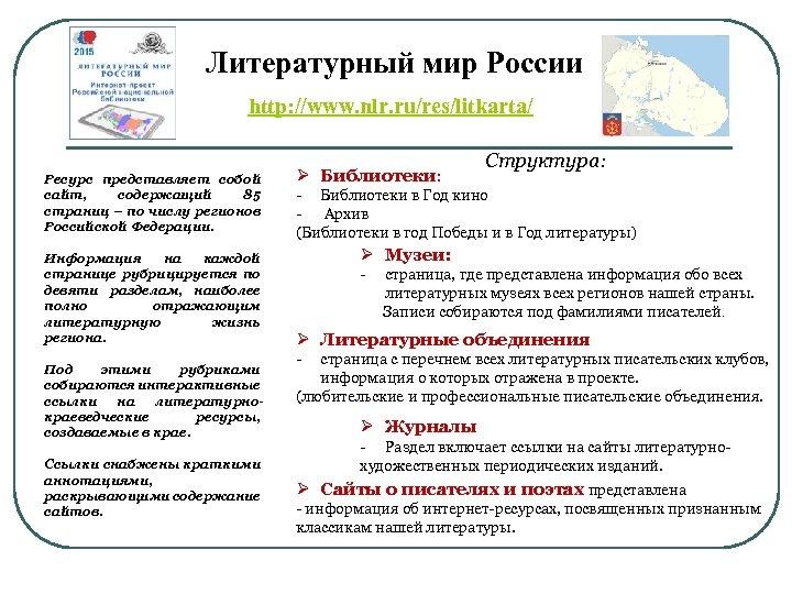 Литературный мир России http: //www. nlr. ru/res/litkarta/ Ресурс представляет собой сайт, содержащий 85