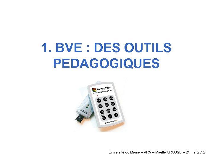 1. BVE : DES OUTILS PEDAGOGIQUES Université du Maine – PRN – Maëlle CROSSE
