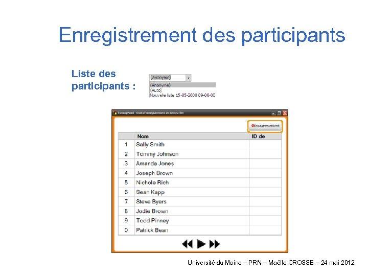 Enregistrement des participants Liste des participants : Université du Maine – PRN – Maëlle