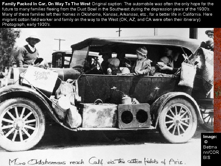 Family Packed In Car, On Way To The West Original caption: The automobile was