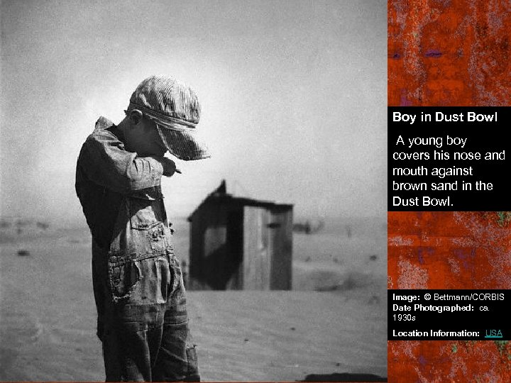 Boy in Dust Bowl A young boy covers his nose and mouth against brown