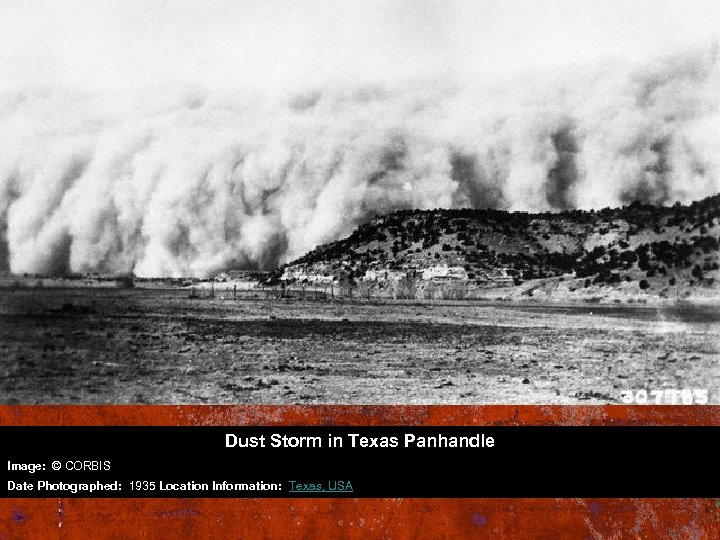 Dust Storm in Texas Panhandle Image: © CORBIS Date Photographed: 1935 Location Information: Texas,